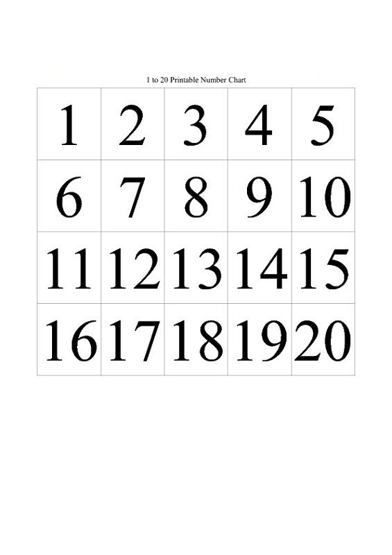 1 20 Number Chart For Kids
