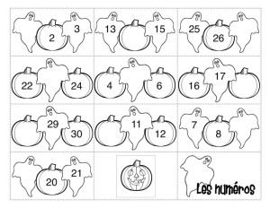 1 20 number chart halloween theme