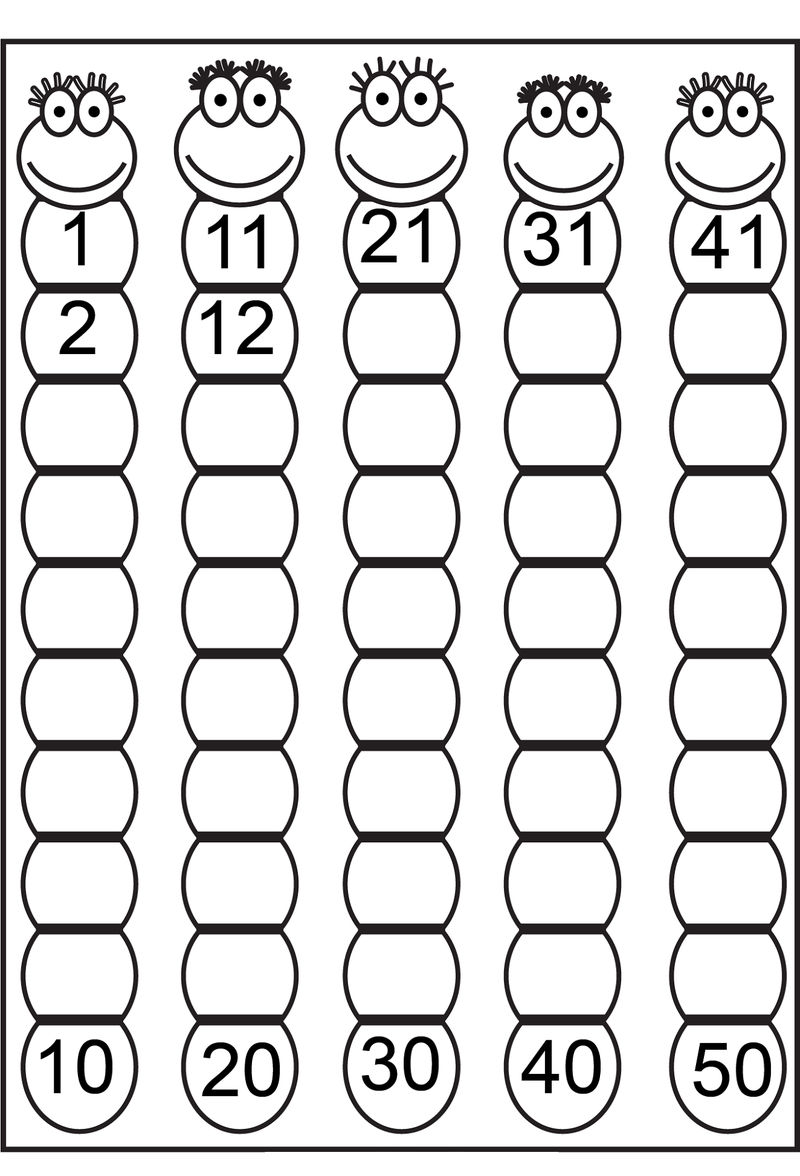 1 50 Number Chart Counting