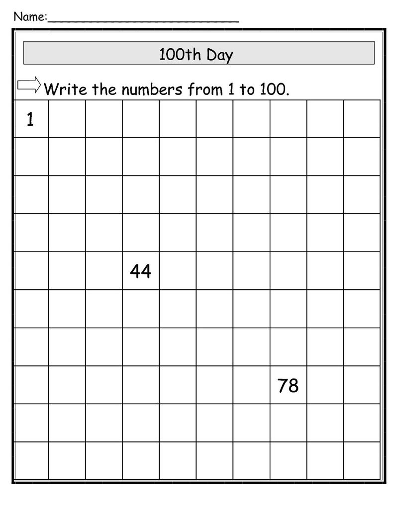 100 Chart Worksheets Large