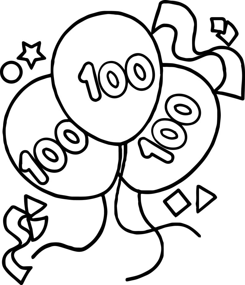 100 Days Balloon Coloring Page