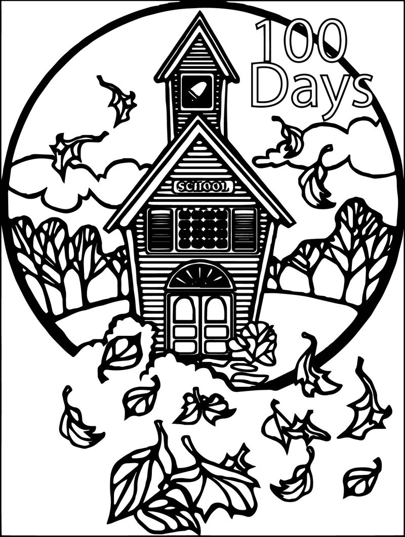 100 Days Of School Autumn Coloring Page