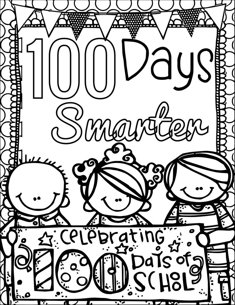 100 Days Of School Celebrating Smarter Coloring Page