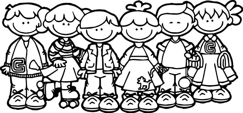 100 Days Of School Children Coloring Page