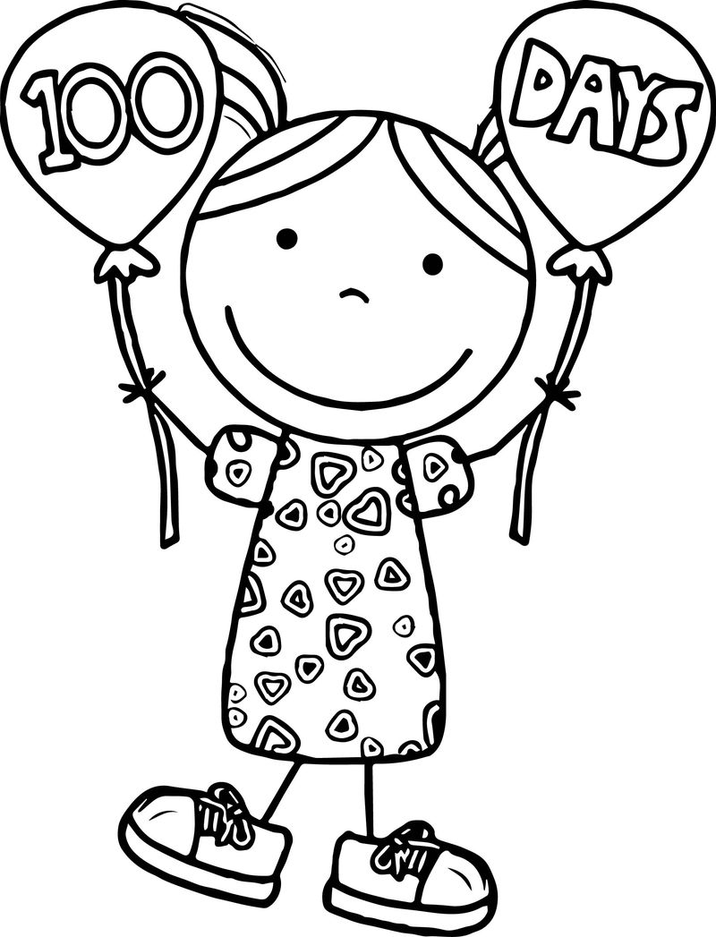100th Day Of School Kid Shirt Design Coloring Page