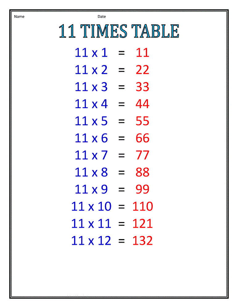 11 Times Table Worksheet For Learning