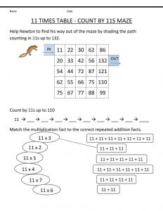 11 times table worksheet maze