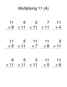 11 times table worksheet simple