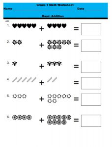 1st grade math worksheets simple addition