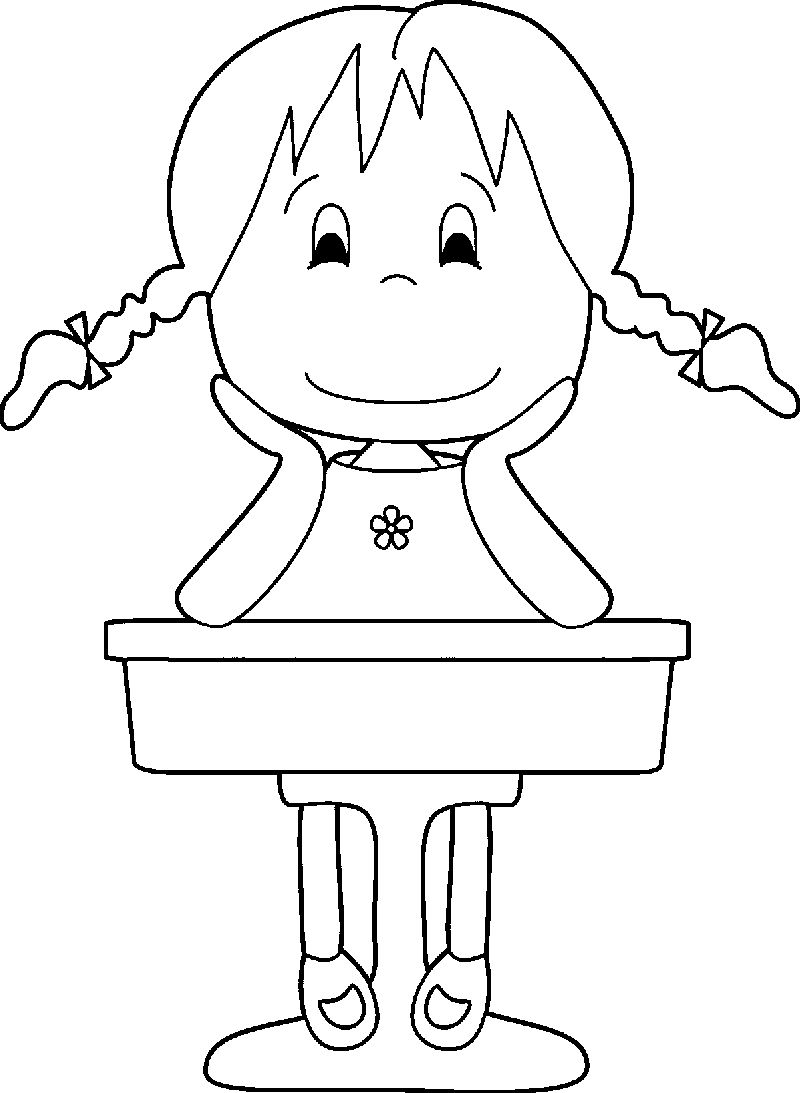 1st Grade School Girl Coloring Page