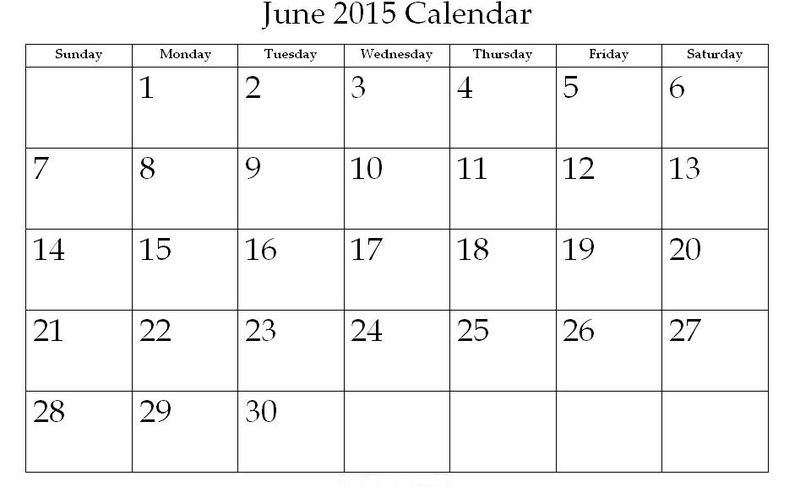 2015 Calendar Printable One Page June 001