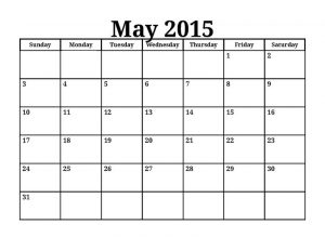 2015 calendar printable one page may 001