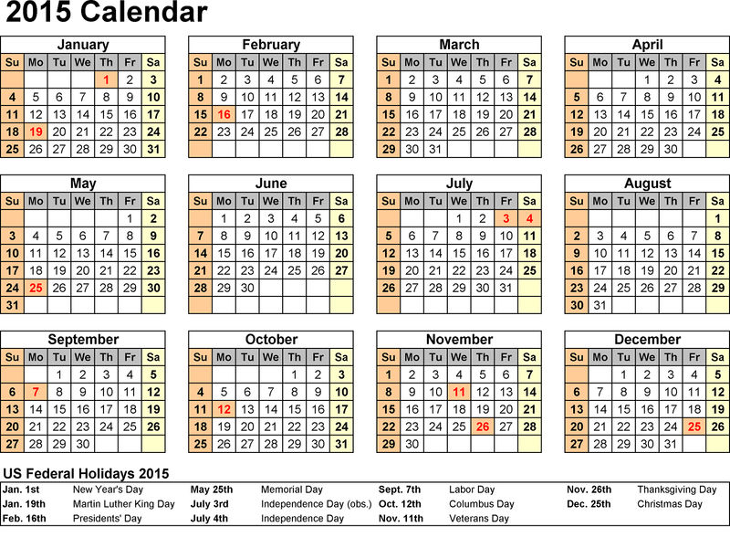 2015 Yearly Calendar With Holidays 1