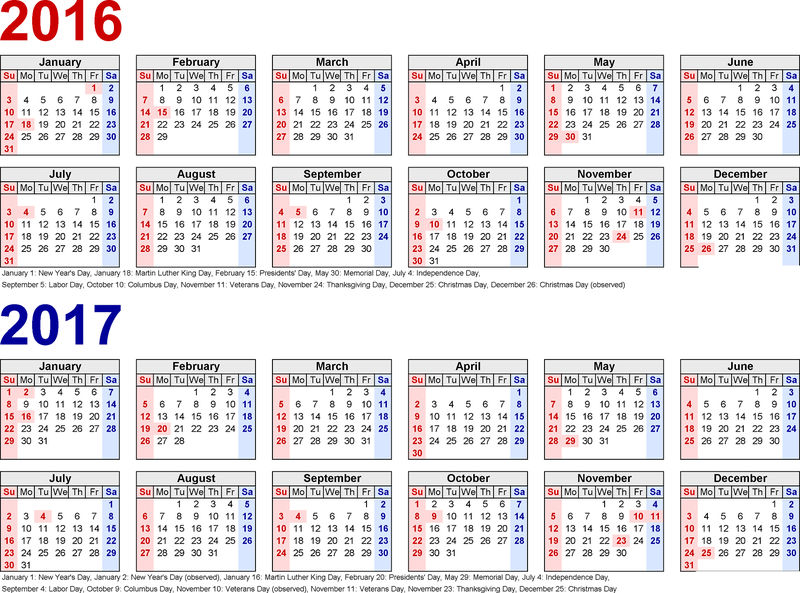 2016 And 2017 Calendar Printable Yearly 001