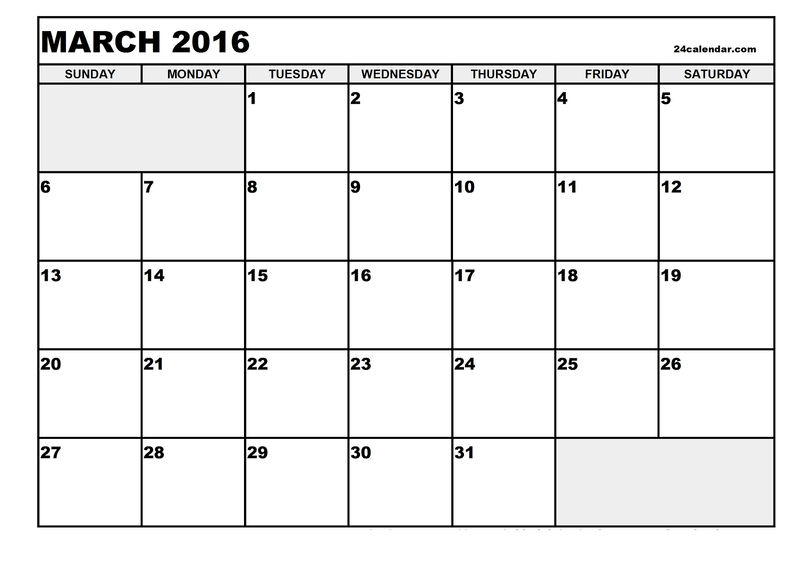 2016 Blank Calendars To Print March