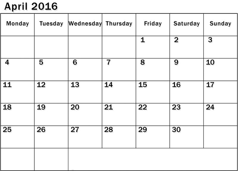 2016 Monthly Calendar Printable For April