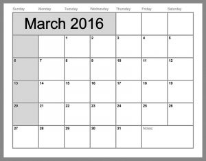 2016 monthly calendar printable for march