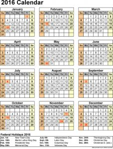 2016 printable calendar one paged
