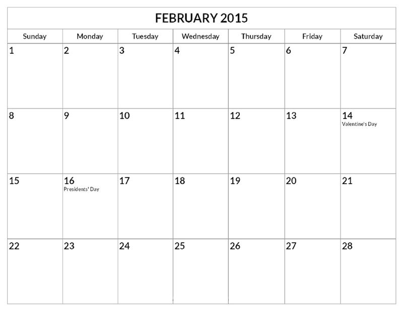 2016 Yearly Calendar With Holidays February