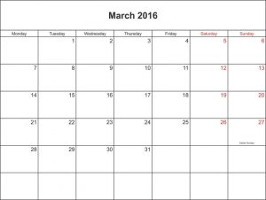 2016 yearly calendar with holidays march