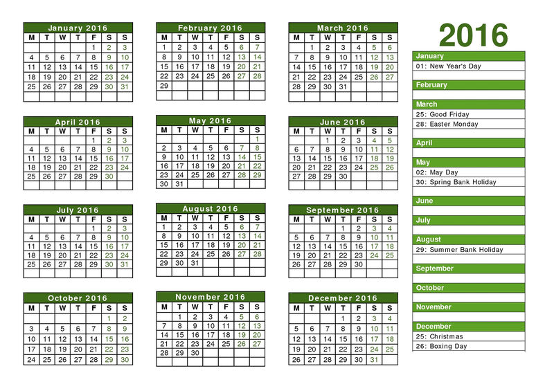2016 Yearly Calendar With Holidays One Page