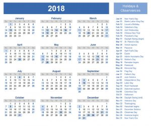 2018 yearly calendar with holidays complete
