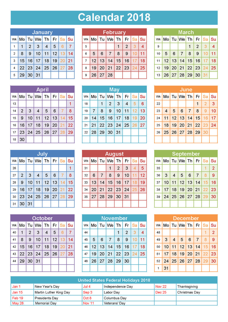 2018 Yearly Calendar With Holidays Fun