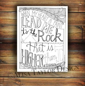 23rd Psalm Coloring Pages - Printable Coloring Page Of Psalm 61 2 by Alisataylordesign On Etsy 12k