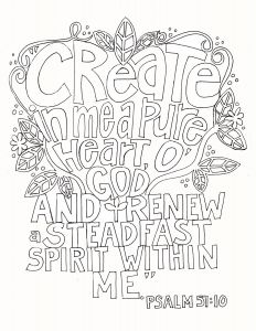 23rd Psalm Coloring Pages - Ps 51 10 11g