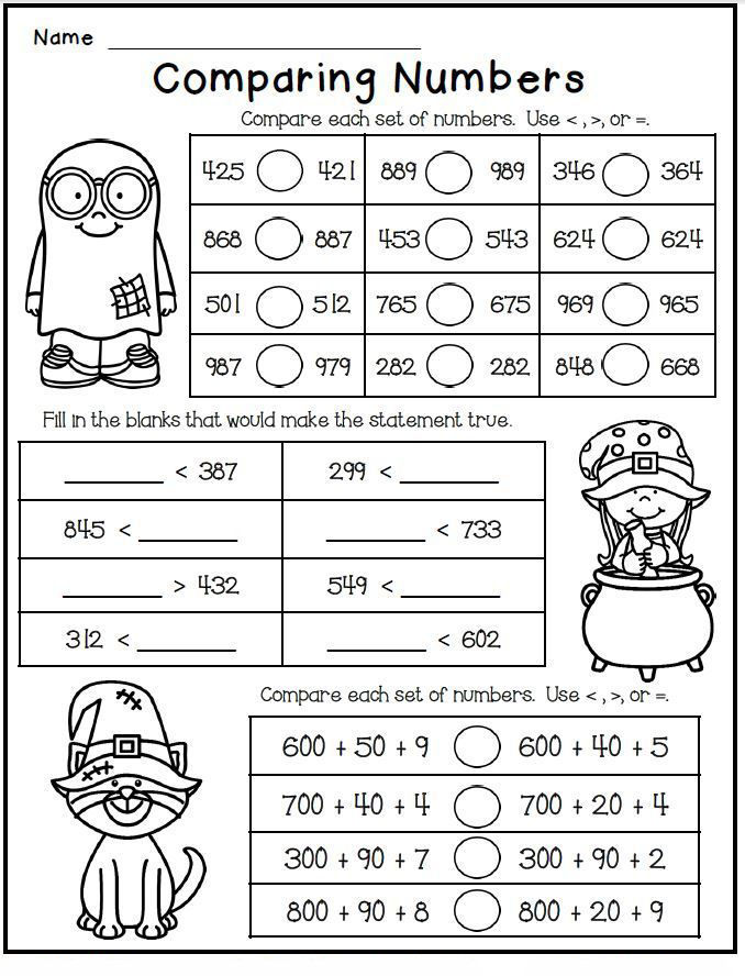 2nd Grade Math Worksheet Comparing Numbers - Coloring Sheets