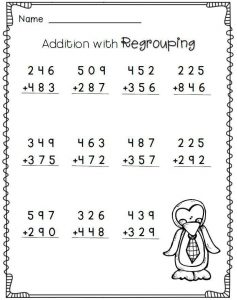 2nd grade math worksheets addition regrouping