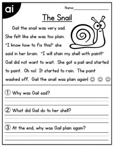 2nd grade reading worksheet the snail