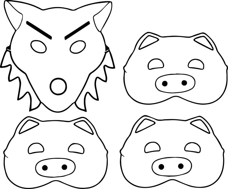 3 Little Pigs And Wolf Mask Coloring Page