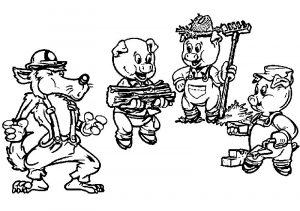 3 little pigs cartoon coloring page