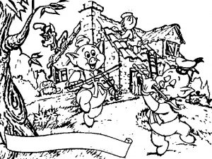 3 little pigs scene coloring page
