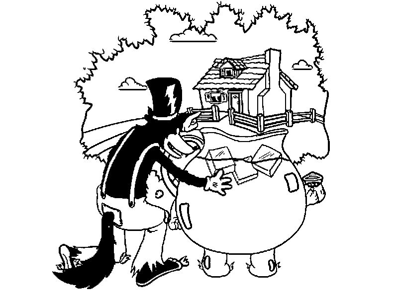 3 Little Pigs Wolf See Home Coloring Page