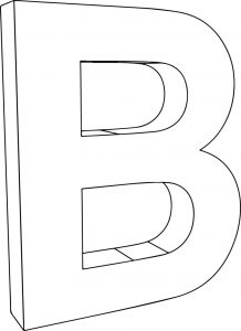 3d b character letter coloring page