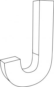 3d j character coloring page