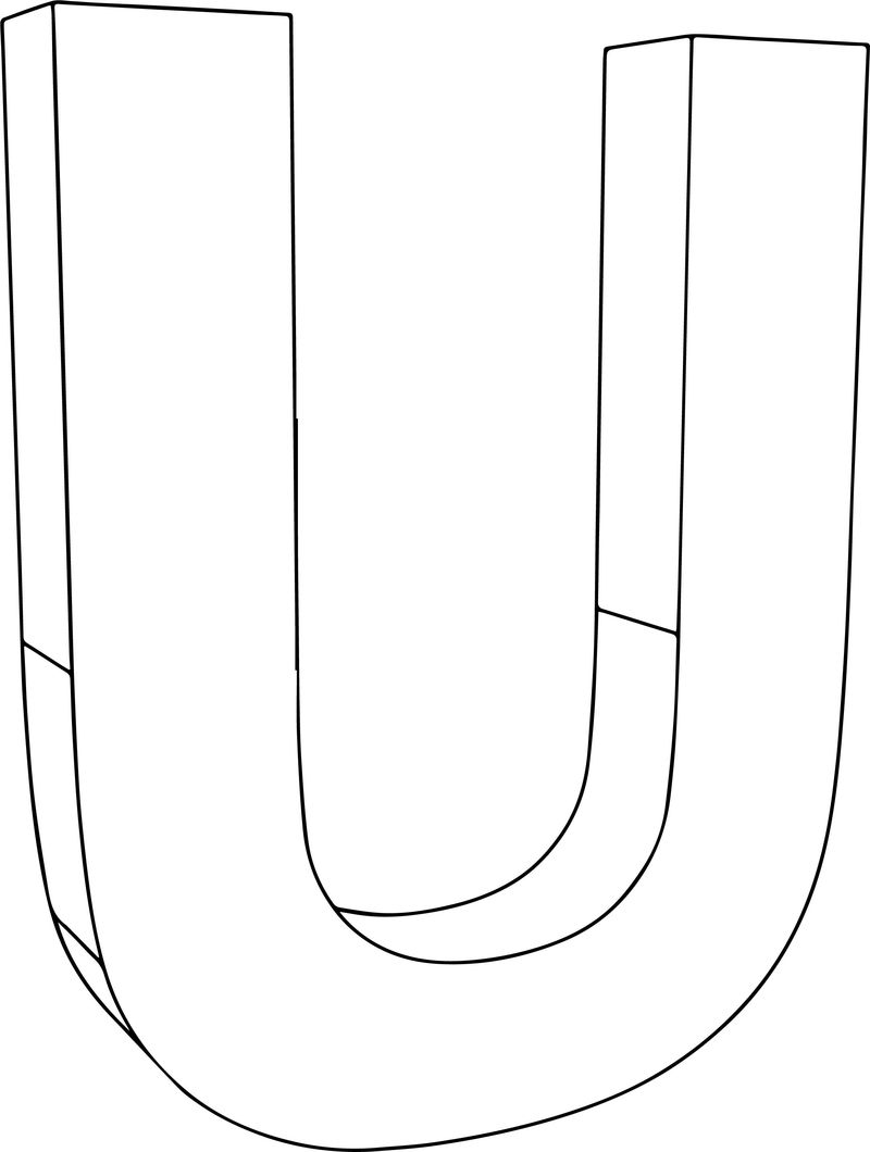 3d U Character Coloring Page