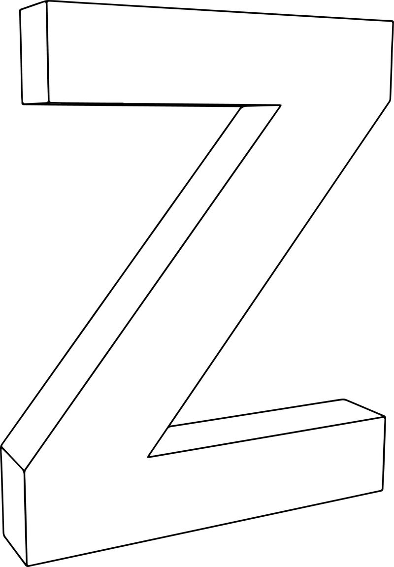 3d Z Character Coloring Page