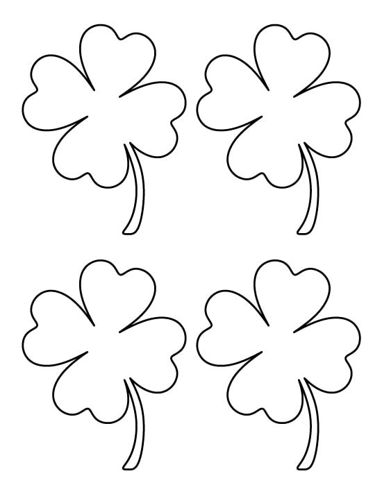 4 Four Leaf Clover Coloring Pages