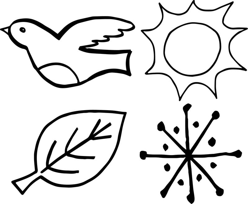 4 Seasons Bird Leaf Sun Snow Coloring Page