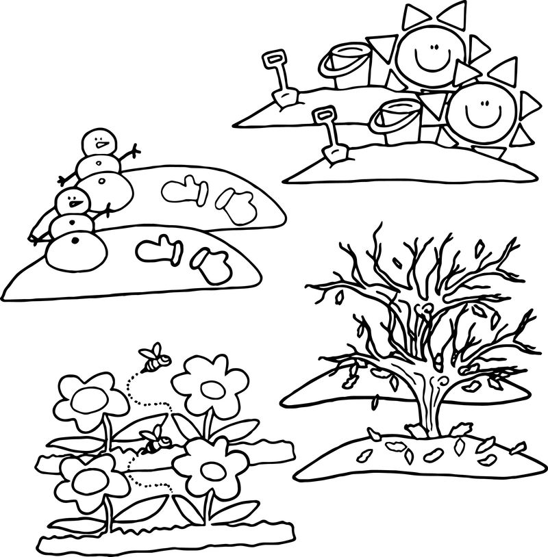 4 Seasons Cartoon Coloring Pages