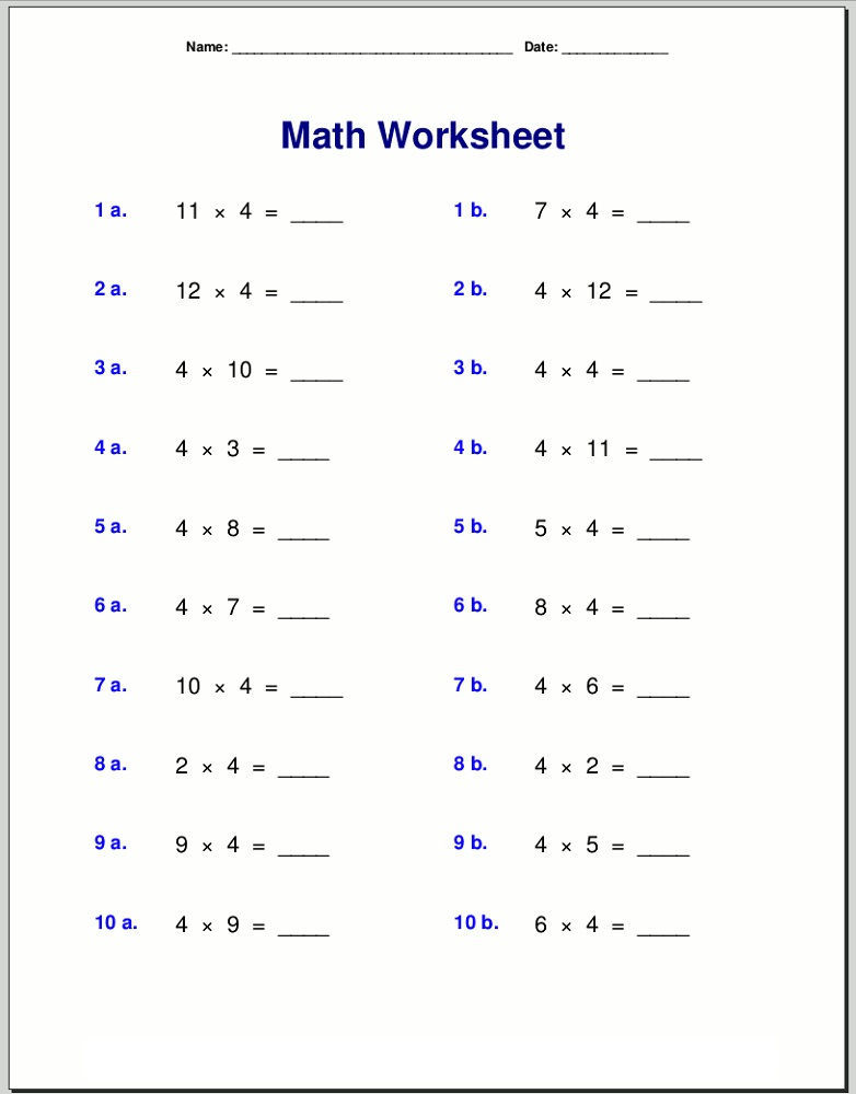 4 Times Table Worksheet Free