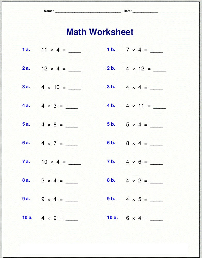4 Times Table Worksheet Grade 3
