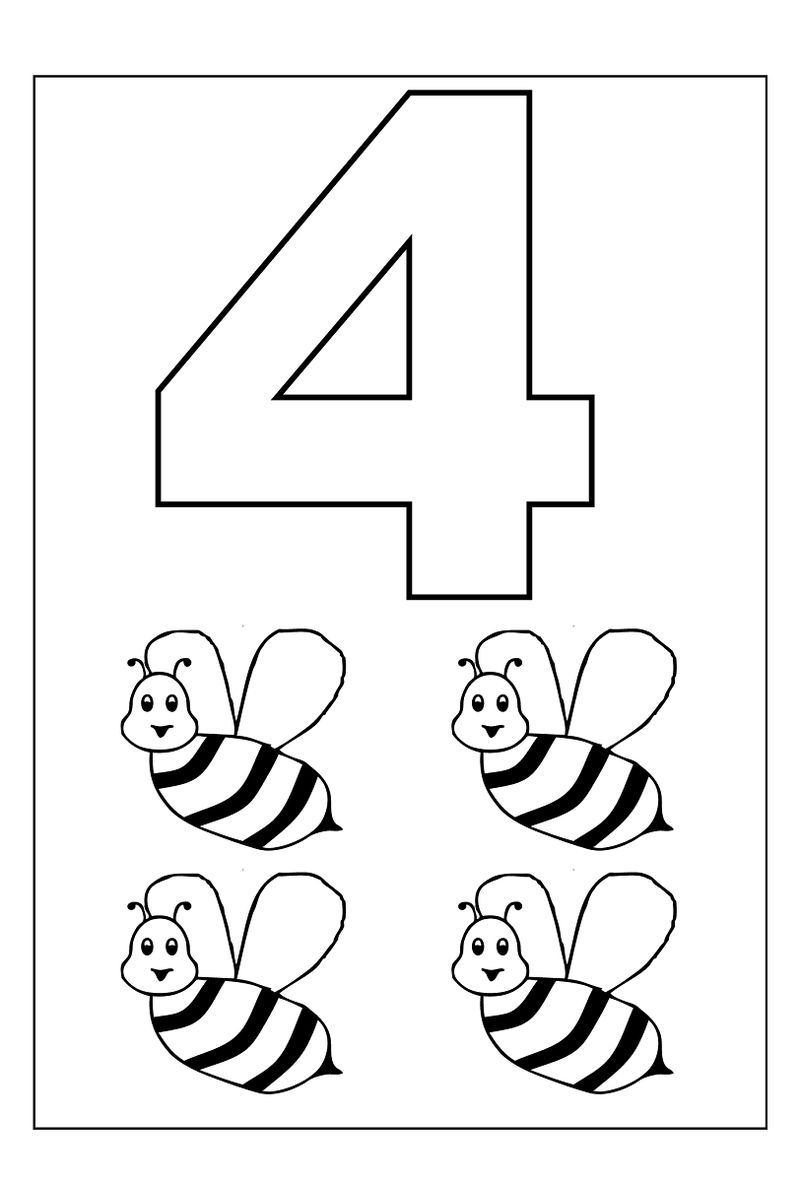 4 Year Old Worksheets Printable Number   Coloring Sheets