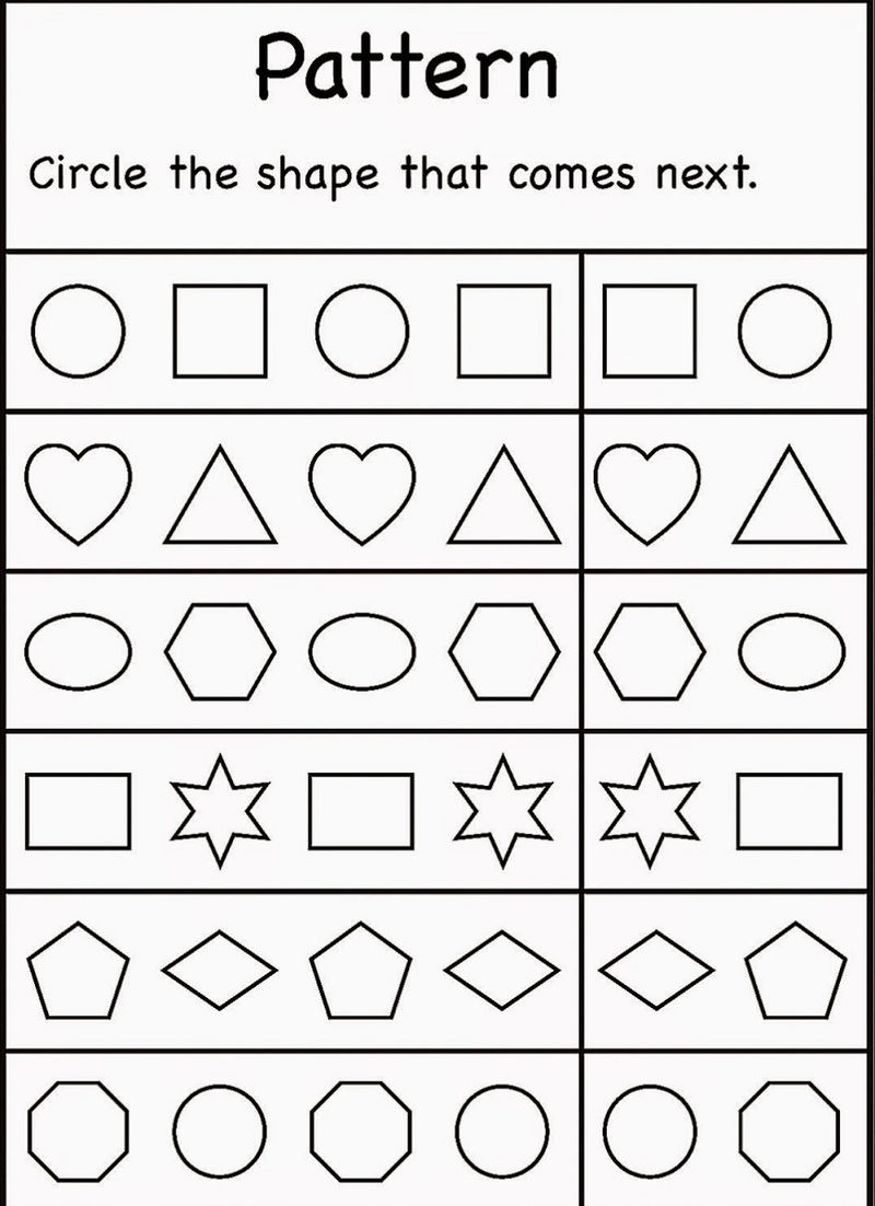 4 Year Old Worksheets Printable Pattern Shapes