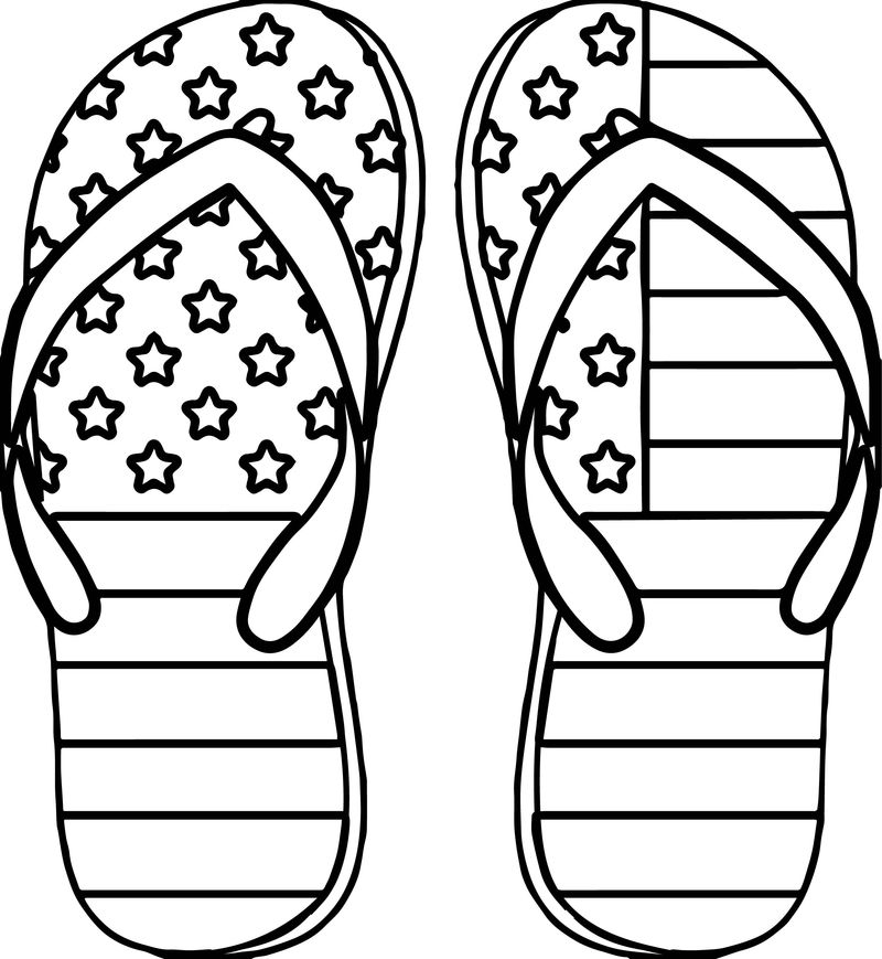 4th July Slipper Coloring Page