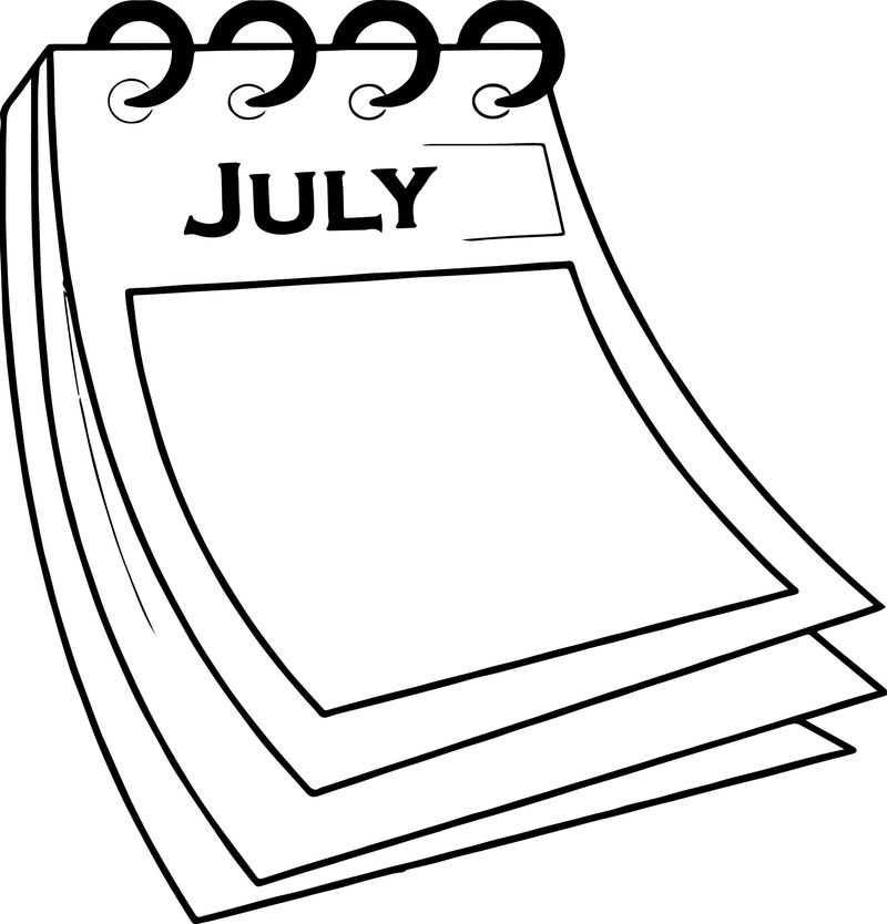 4th Of July Calendar Paper Coloring Page