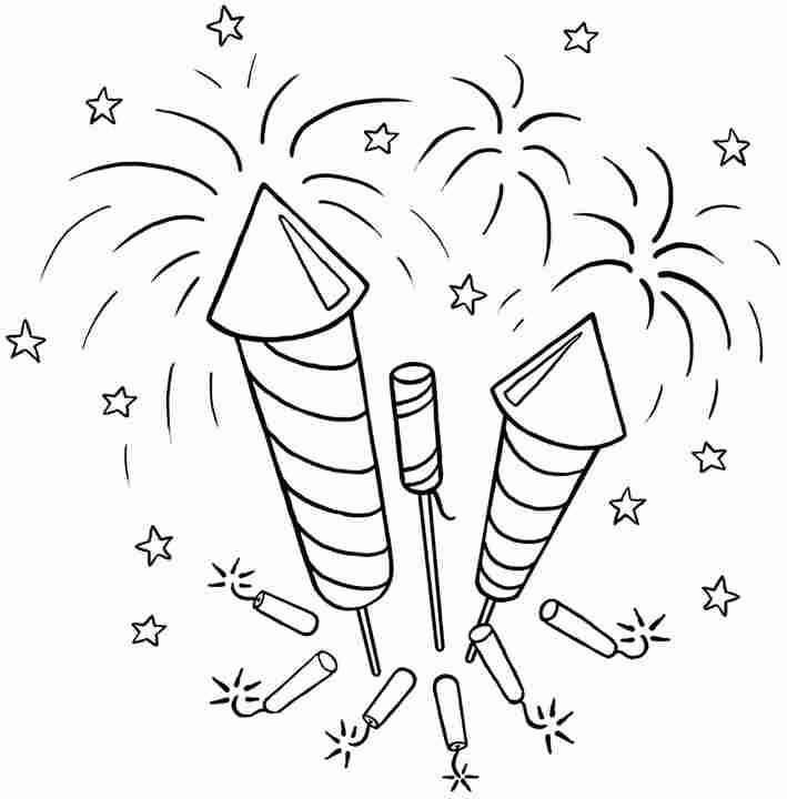 4th Of July Coloring Pages Free Fireworks